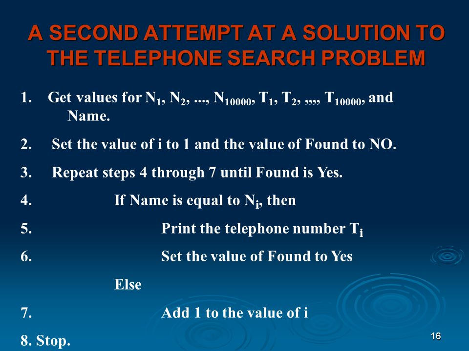 A SECOND ATTEMPT AT A SOLUTION TO THE TELEPHONE SEARCH PROBLEM