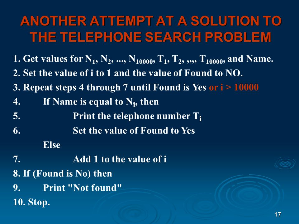 ANOTHER ATTEMPT AT A SOLUTION TO THE TELEPHONE SEARCH PROBLEM