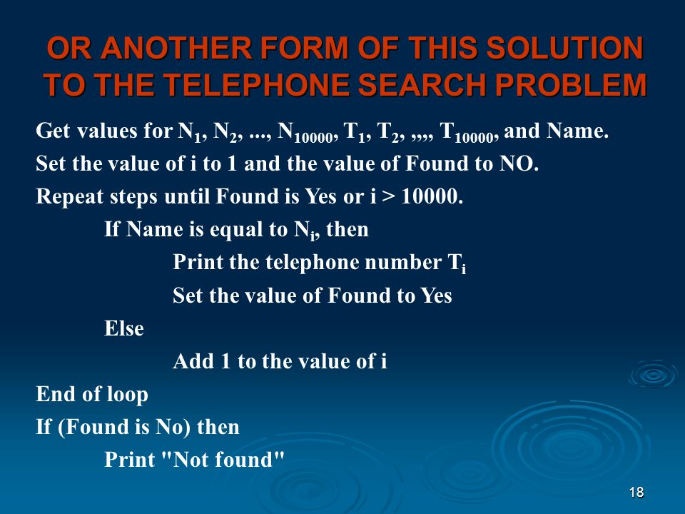 OR ANOTHER FORM OF THIS SOLUTION TO THE TELEPHONE SEARCH PROBLEM