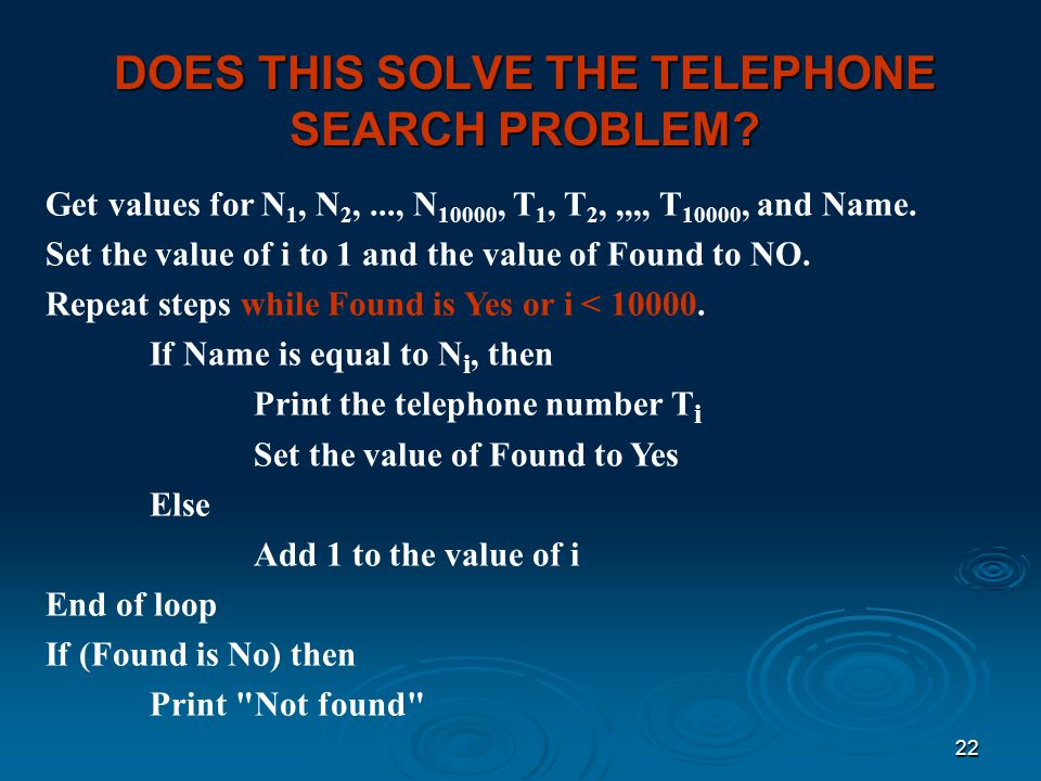 DOES THIS SOLVE THE TELEPHONE SEARCH PROBLEM