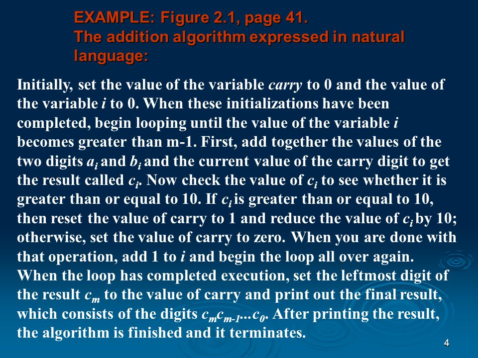 EXAMPLE: Figure 2.1, page 41. The addition algorithm expressed in natural language:
