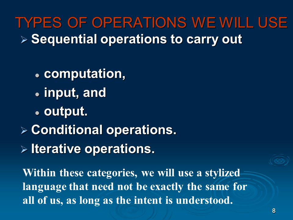 TYPES OF OPERATIONS WE WILL USE