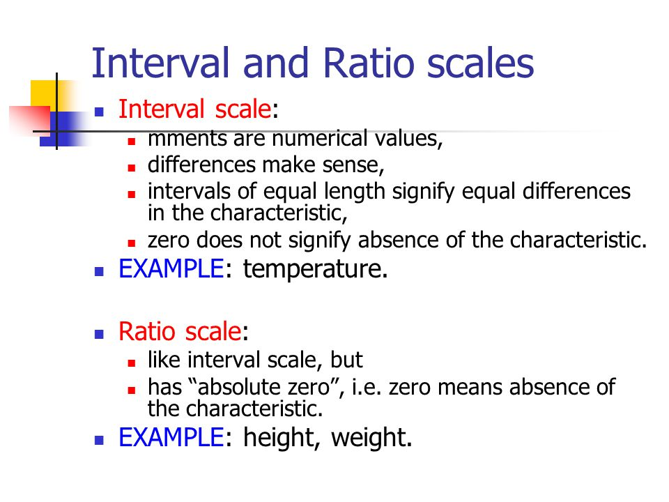 ratio and interval scale data Data comes in various sizes and shapes two of them are interval and ratio interval is a measurement where the difference between two values is meaningful and follows a lin ear scale.