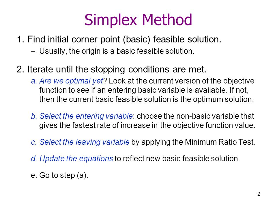 Optimization Mechanics Of The Simplex Method Ppt Video