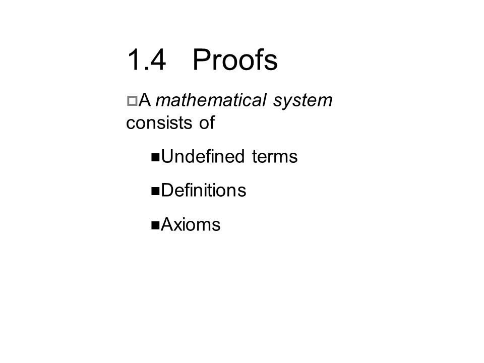 1.4 Proofs A mathematical system consists of Undefined terms