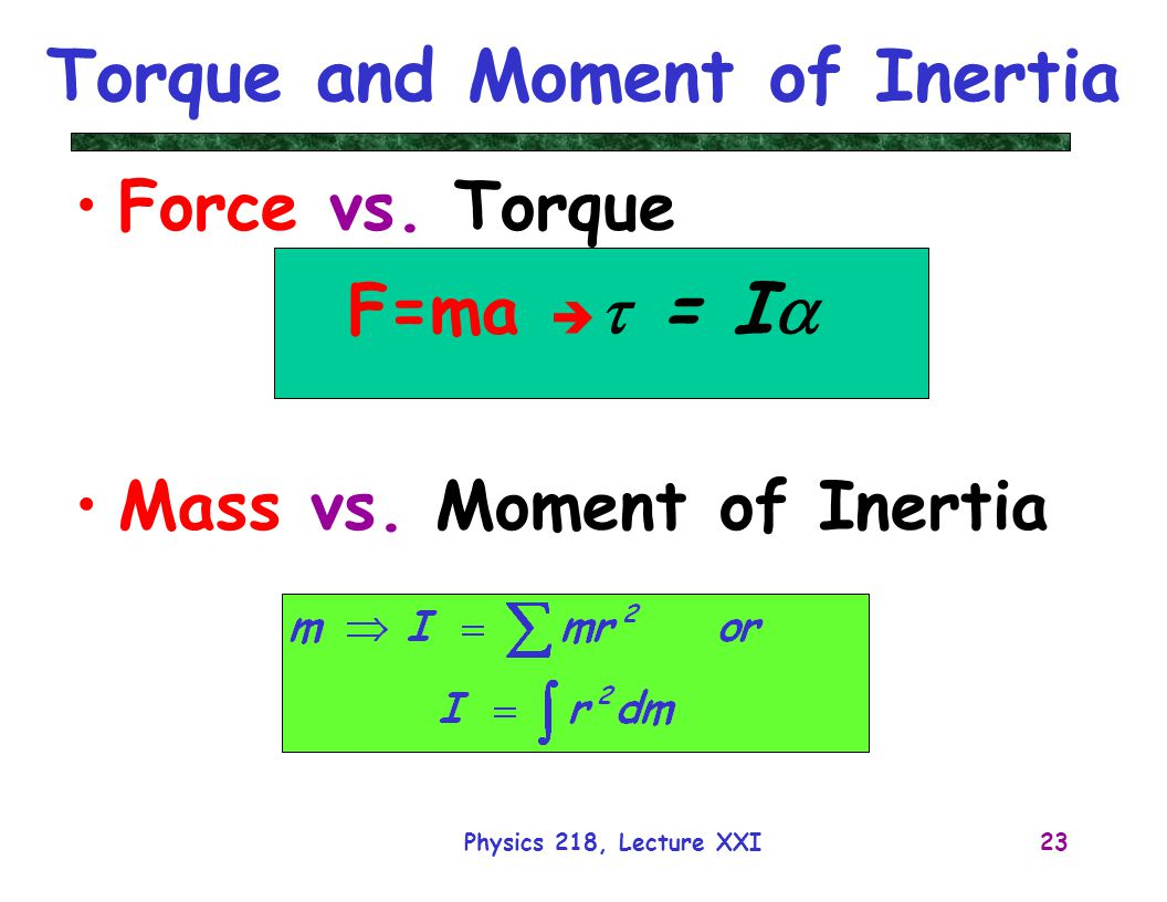 torque and moment of inertia relationship