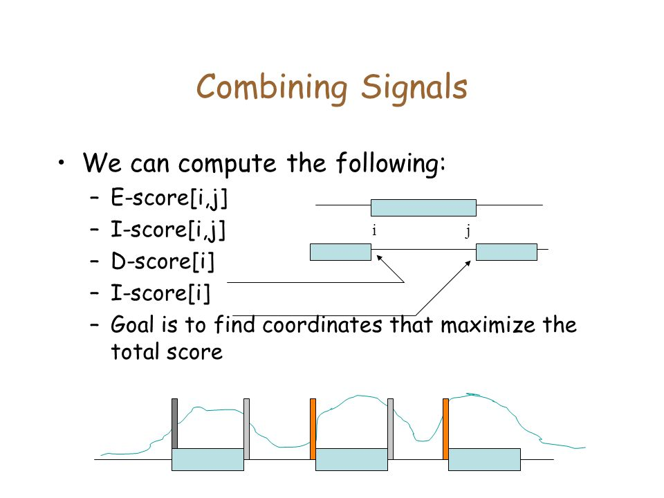 Combining Signals We can compute the following: E-score[i,j]