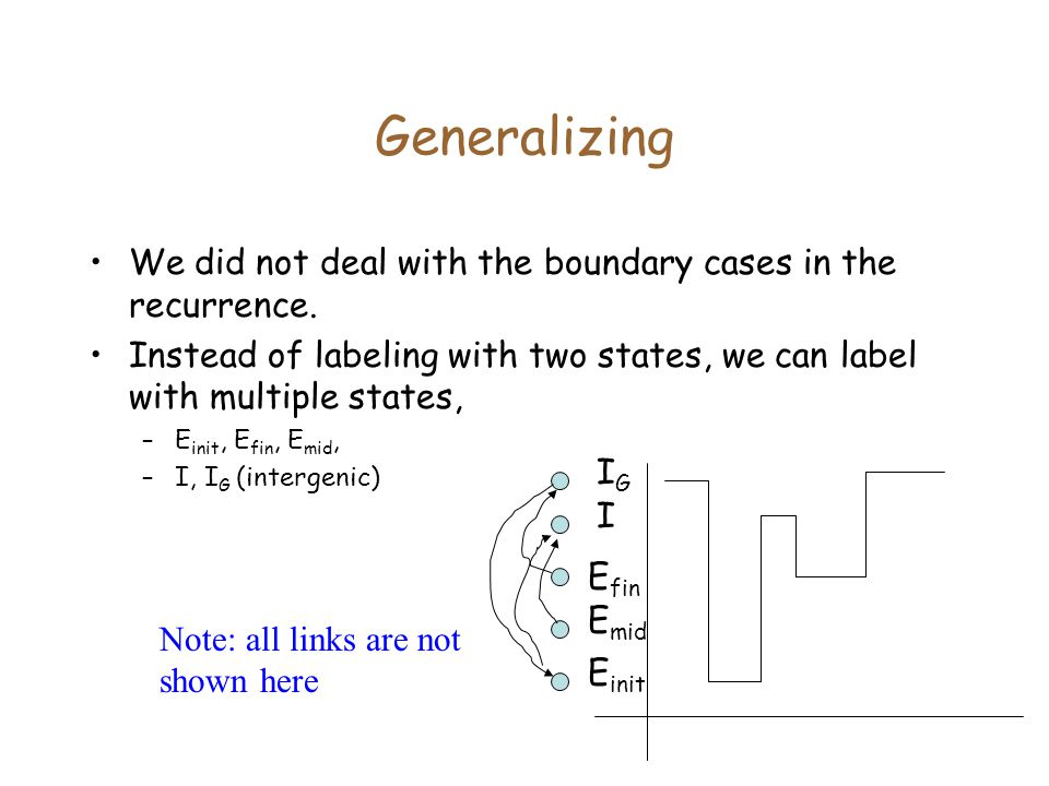 Generalizing We did not deal with the boundary cases in the recurrence. Instead of labeling with two states, we can label with multiple states,