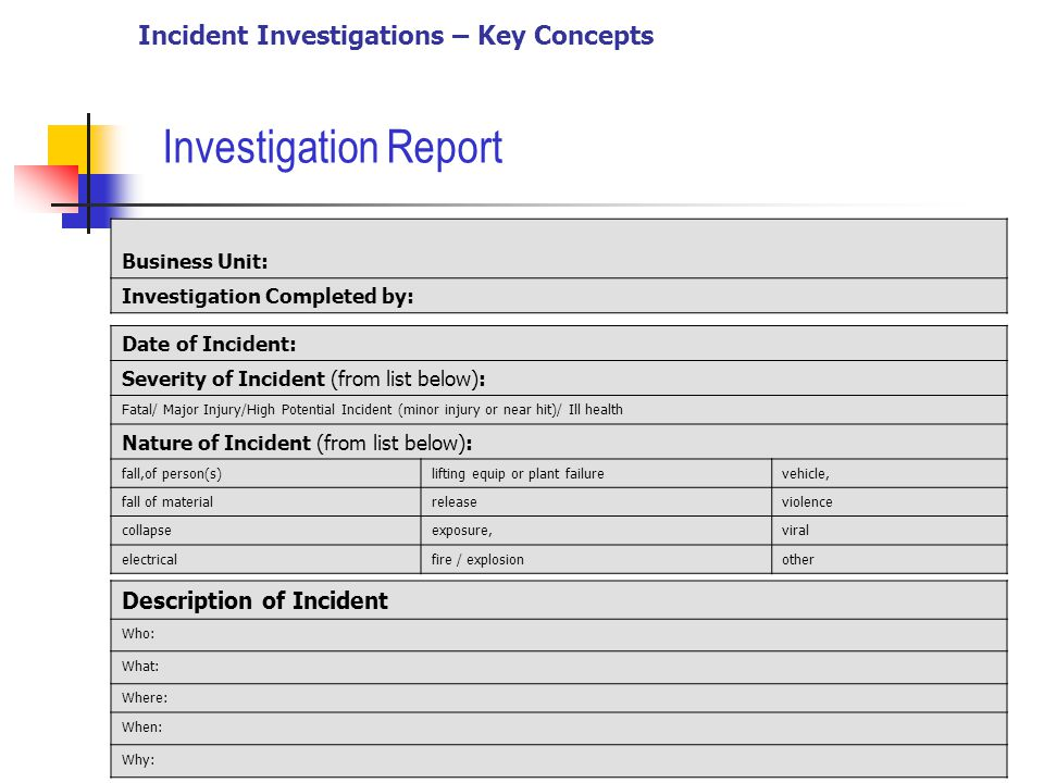 Accident Investigation  Key Concepts  Ppt Video Online Download