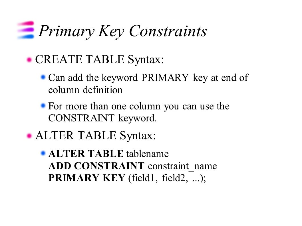 Using relational databases and sql ppt download - Alter table add constraint primary key ...