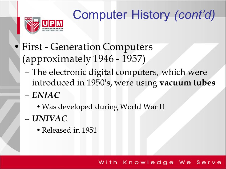 the applications of first generation of computers in the military These first computers were made by the military for military applications,  the generations of computer first generation (1951-1958) vacuum tube innovations 1.