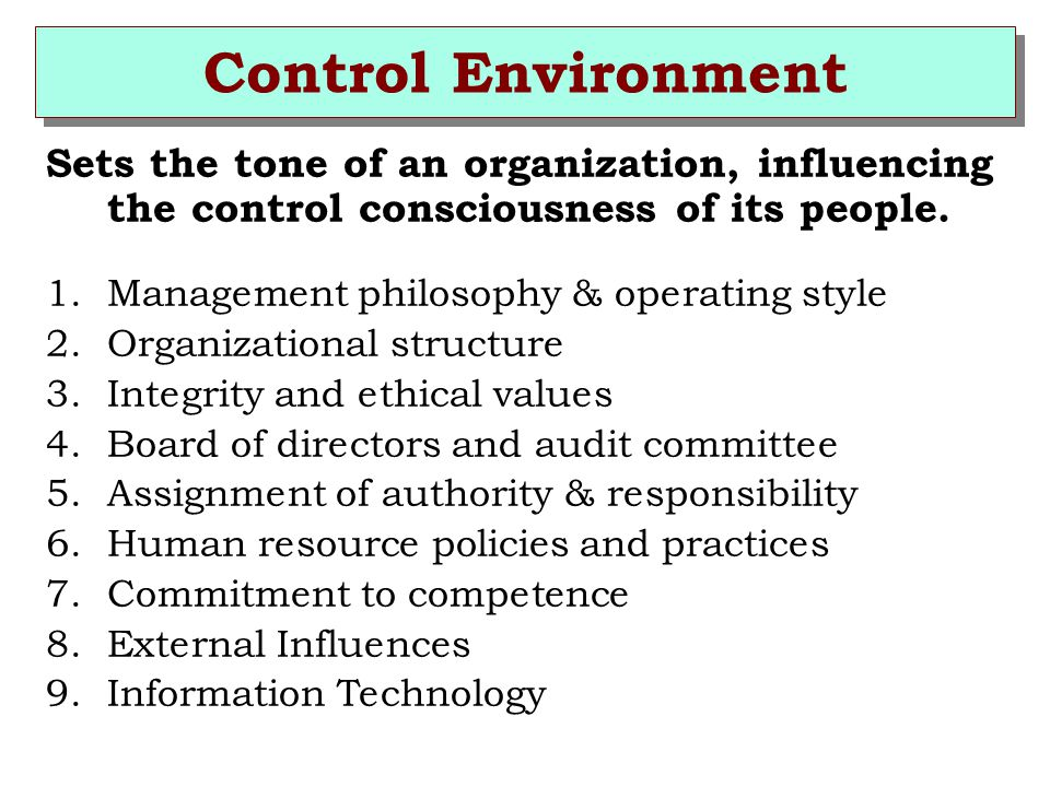 Control Environment Sets the tone of an organization, influencing the control consciousness of its people.