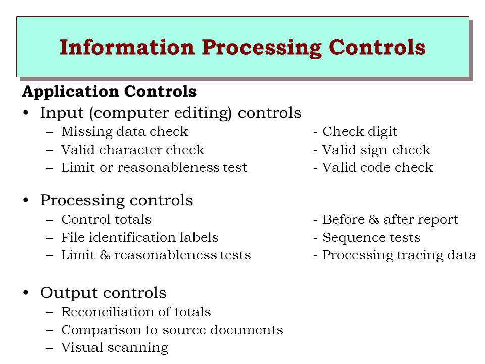 Information Processing Controls