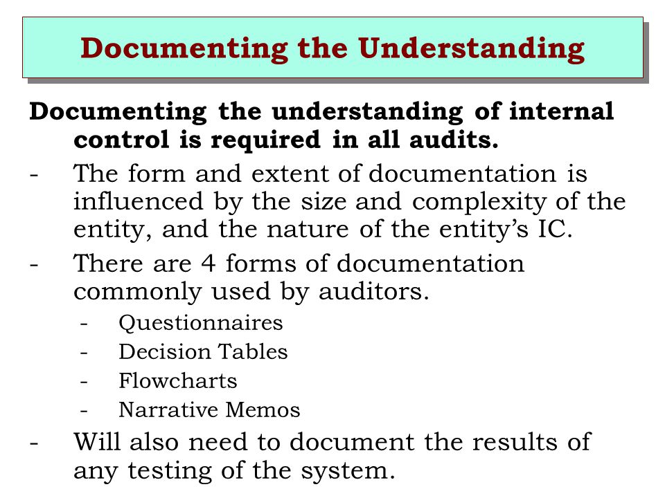 Documenting the Understanding
