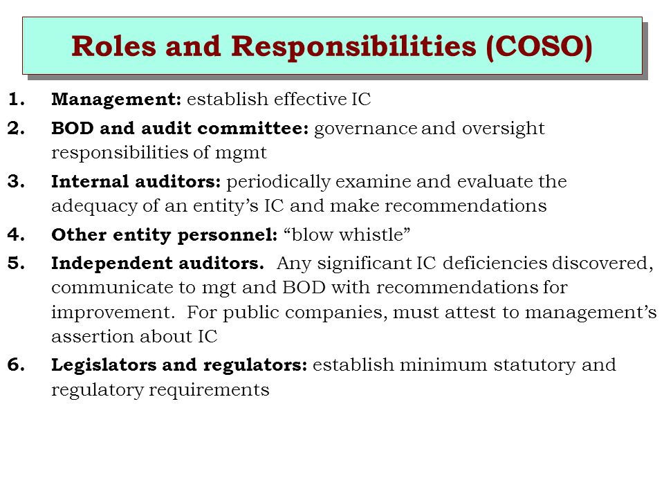 Roles and Responsibilities (COSO)
