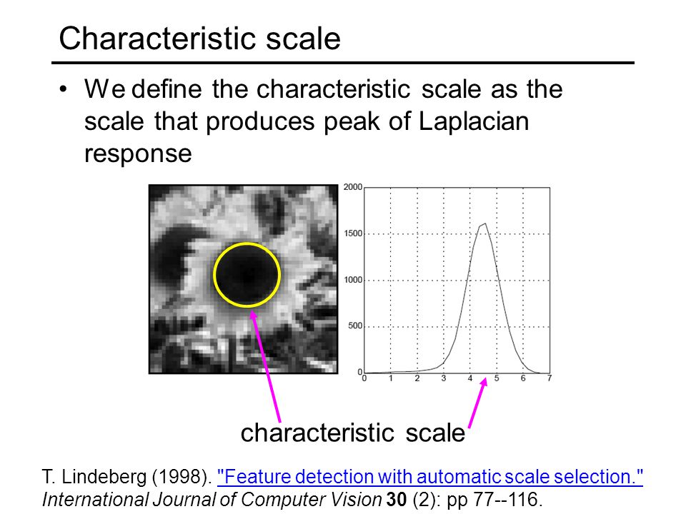 Characteristic scale We define the characteristic scale as the scale that produces peak of Laplacian response.
