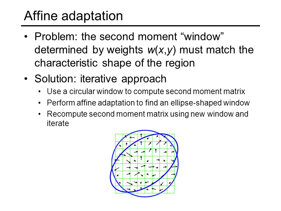 Affine adaptation Problem: the second moment window determined by weights w(x,y) must match the characteristic shape of the region.