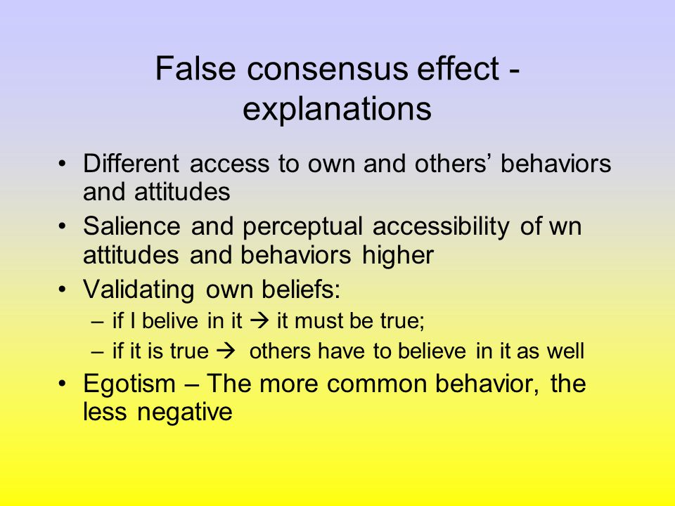 false consensus effect Flashcards and Study Sets | Quizlet