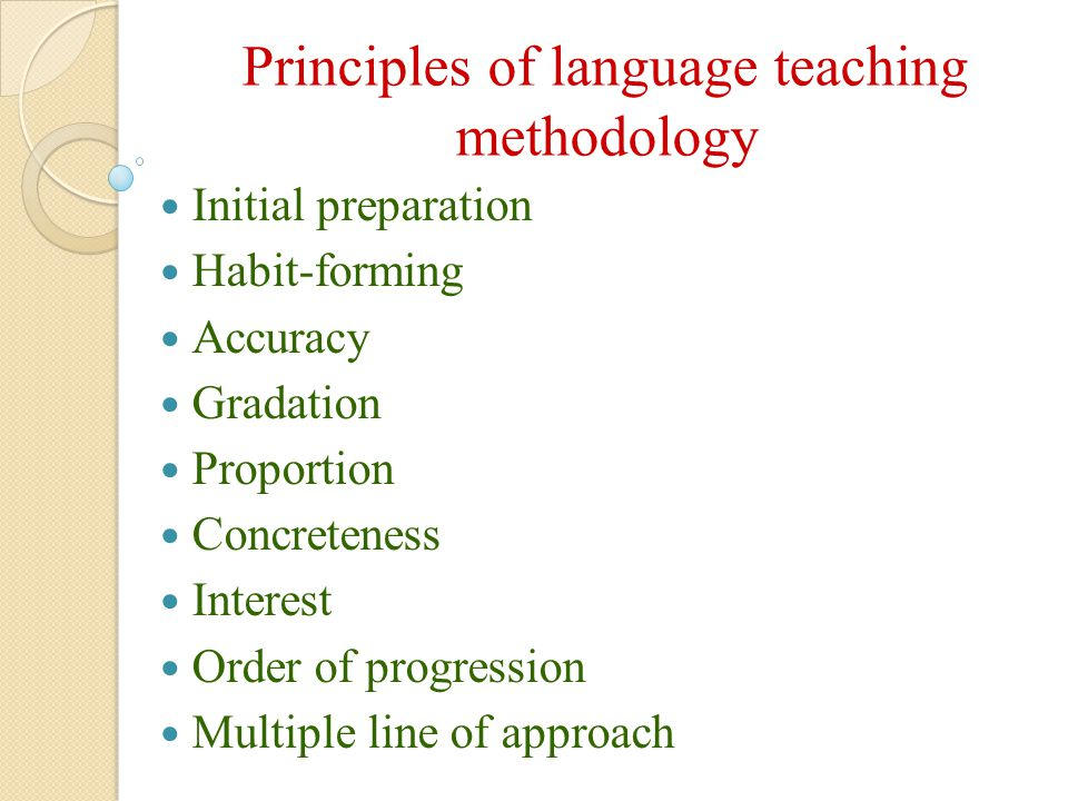 Principles of language teaching methodology