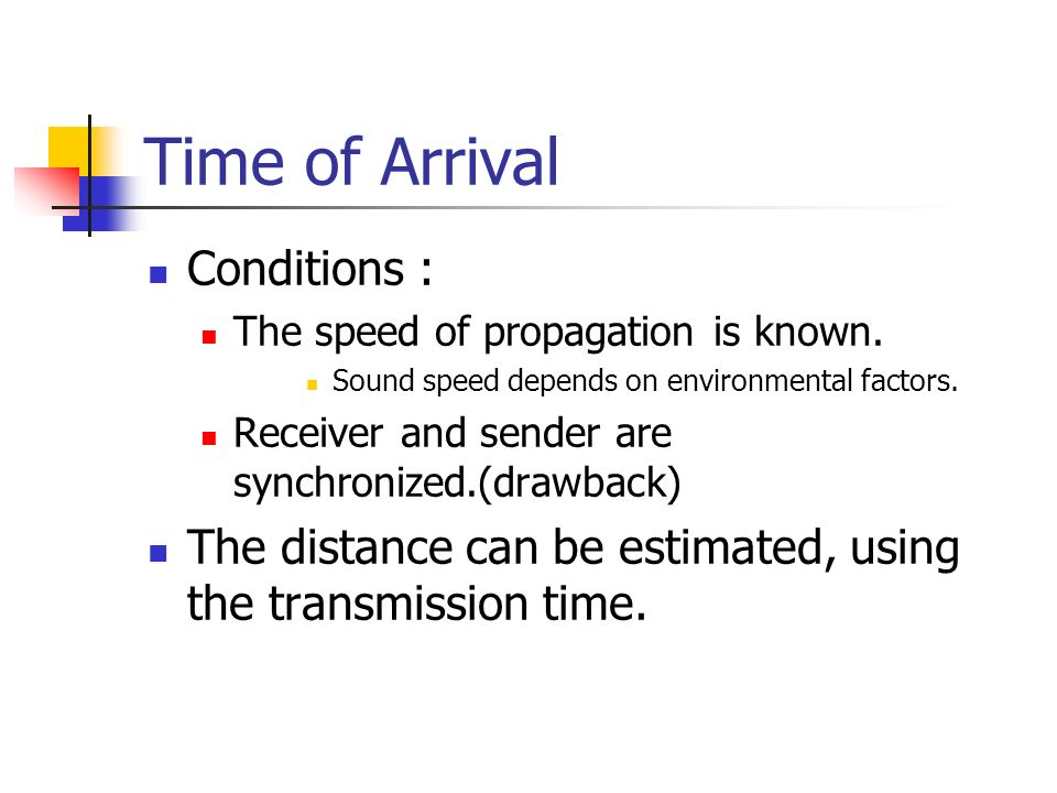 Time of Arrival Conditions :