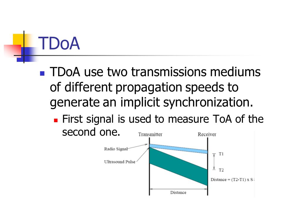 TDoA TDoA use two transmissions mediums of different propagation speeds to generate an implicit synchronization.