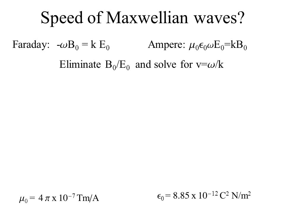 Speed of Maxwellian waves