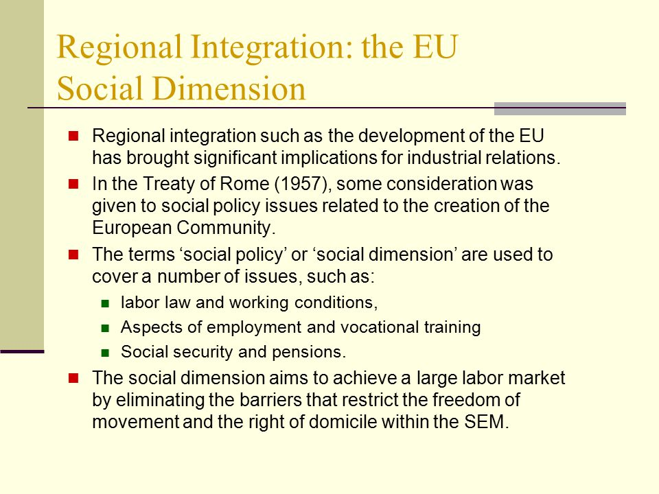 International markets integration and social issues