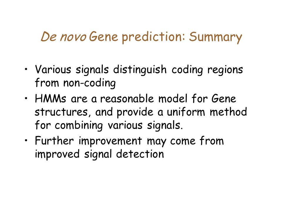 De novo Gene prediction: Summary