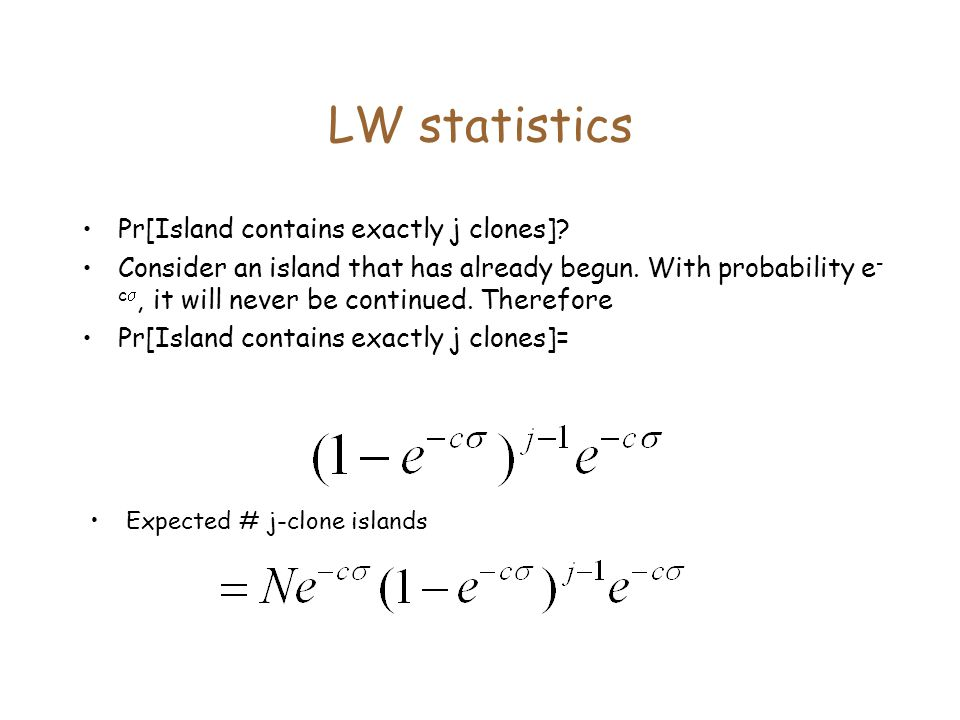 LW statistics Pr[Island contains exactly j clones]