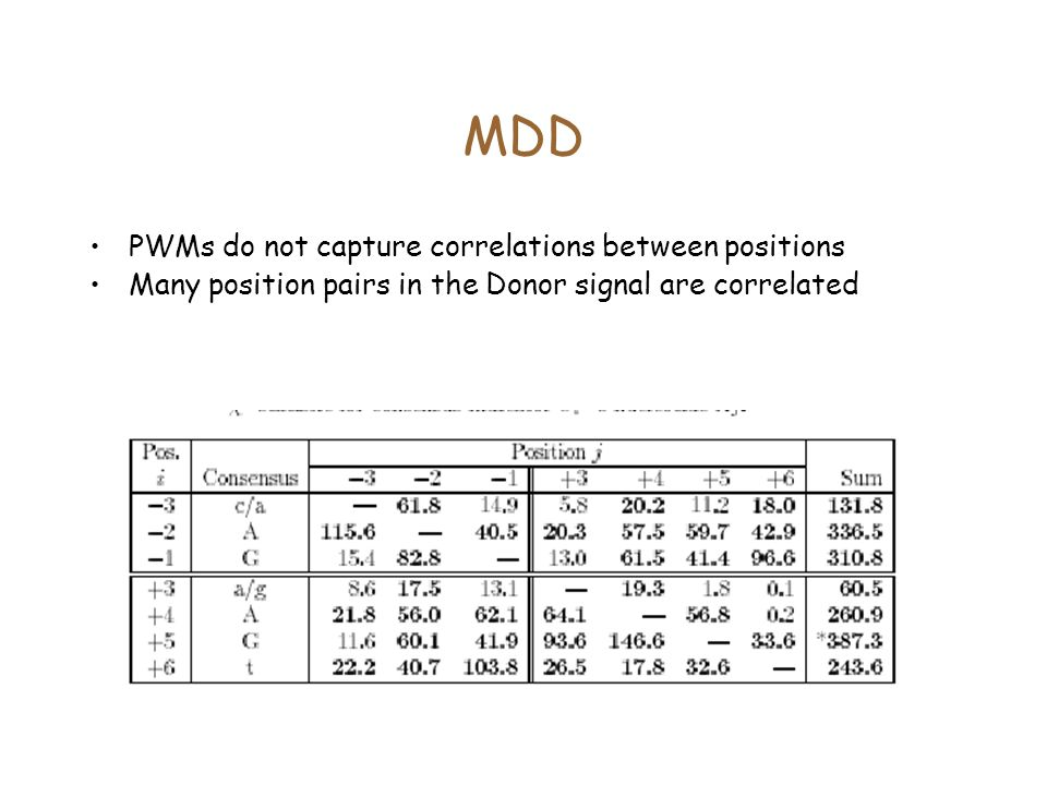 MDD PWMs do not capture correlations between positions