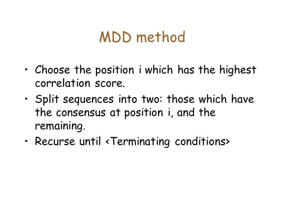 MDD method Choose the position i which has the highest correlation score.