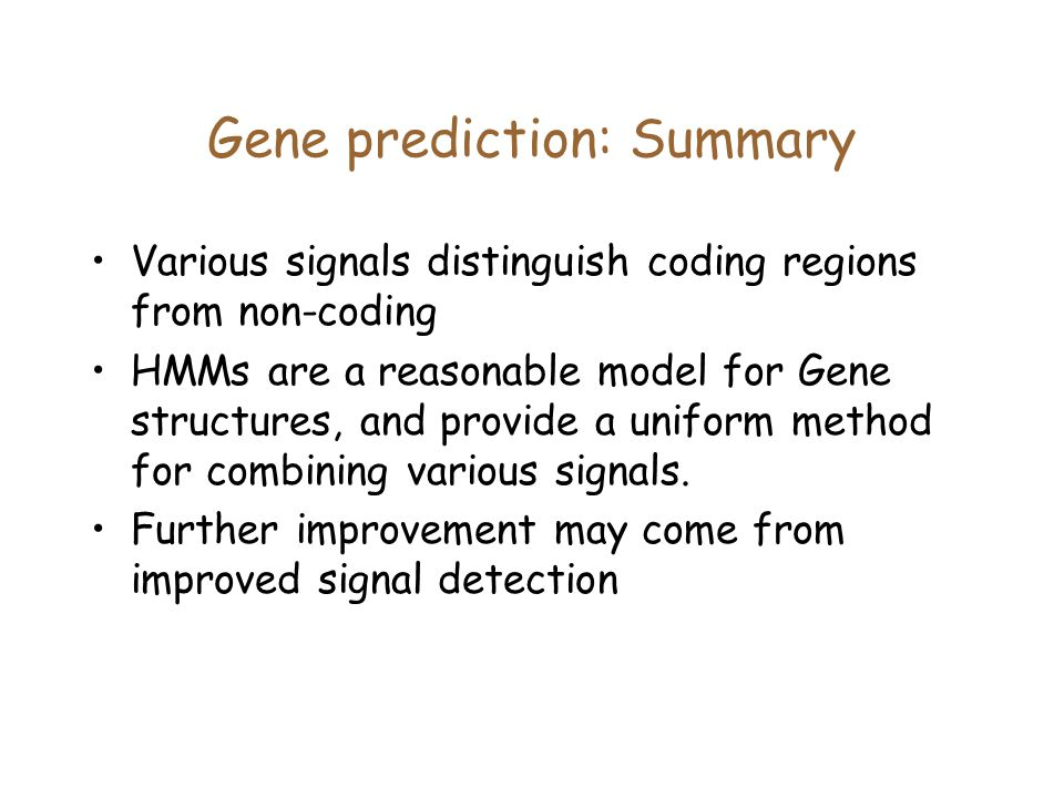 Gene prediction: Summary