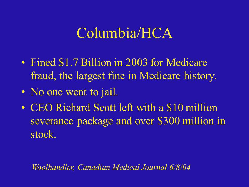Columbia/HCA Fined $1.7 Billion in 2003 for Medicare fraud, the largest fine in Medicare history. No one went to jail.
