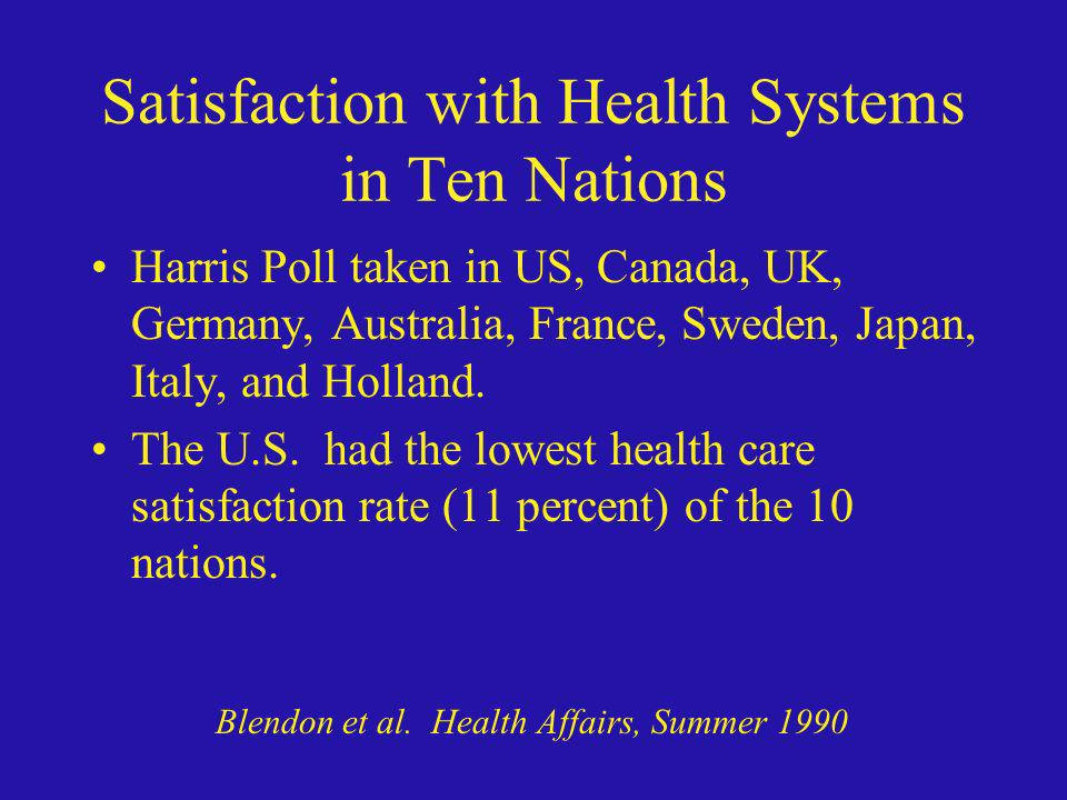 Satisfaction with Health Systems in Ten Nations