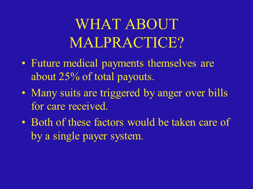 WHAT ABOUT MALPRACTICE