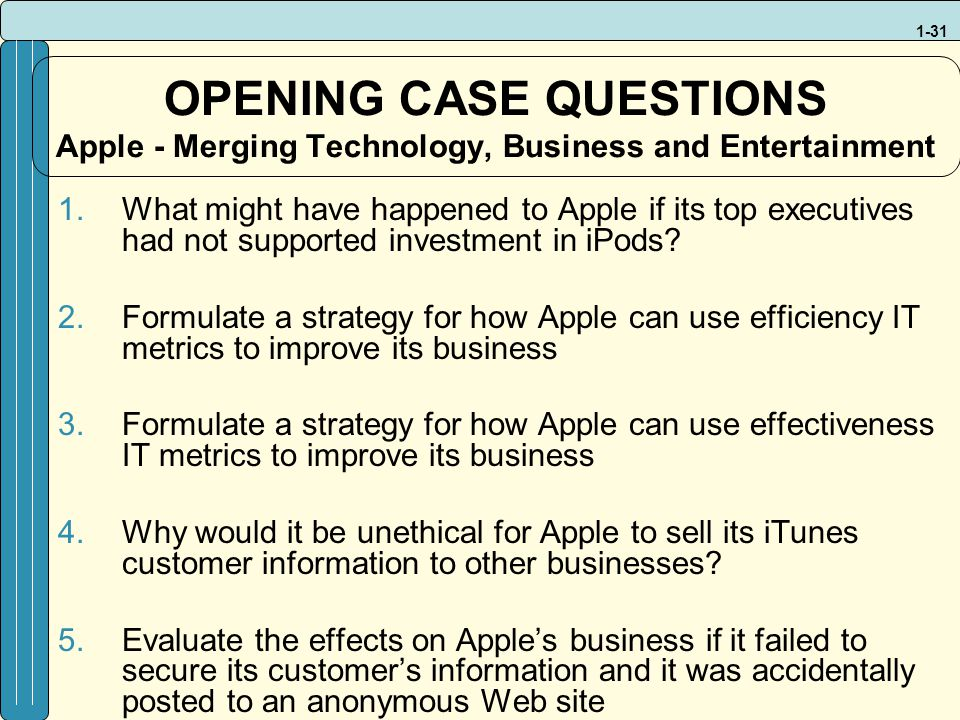 1 what might have happened to apple if its top executives had not supported investment in ipods Financial reporting problem ii, homework help idle cash may be put into what might have happened to apple if its top executives had not supported.