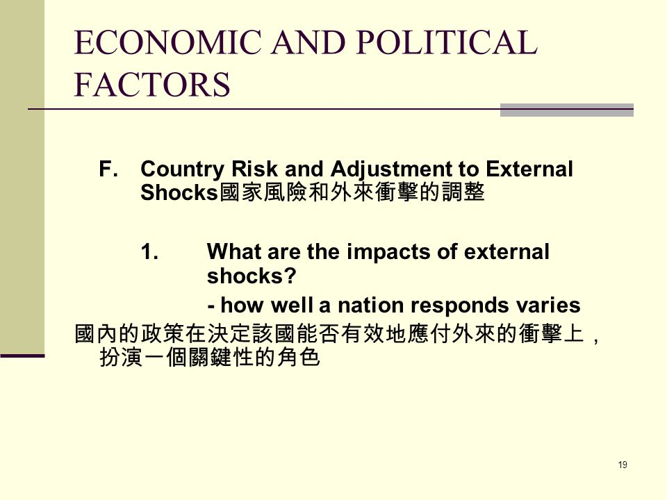 the political and economical factors with Assessing the role of political institutions in economic performance is not an easy task long-standing, deep-rooted political and social challenges have shaped each national institution and.