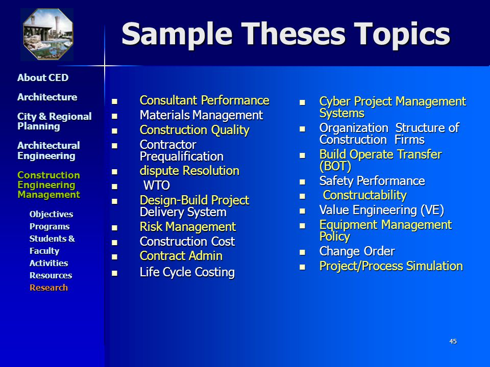 construction engineering and management thesis The department of construction management and engineering offers three separate and distinct graduate programs as listed below  6 credits of research/thesis,.