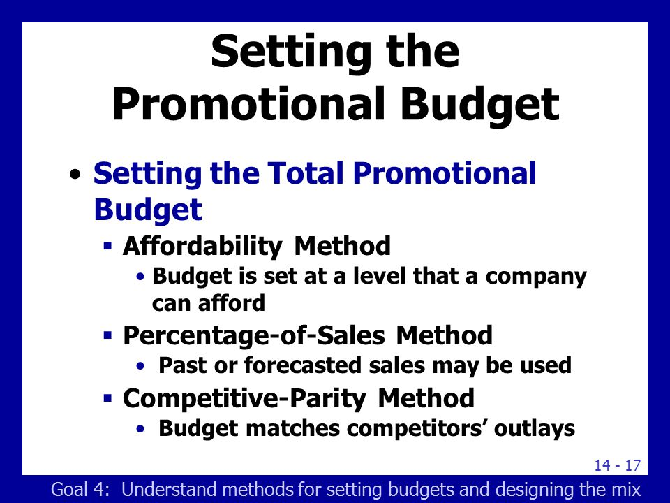Setting the Promotional Budget