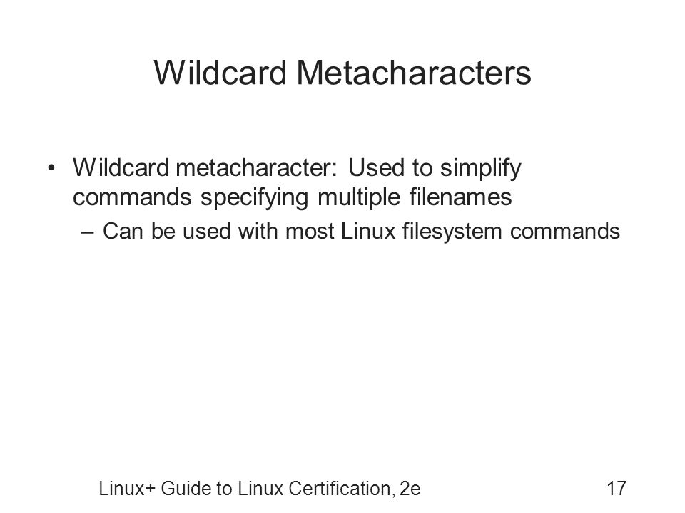 Wildcard Metacharacters