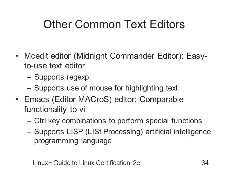 Other Common Text Editors