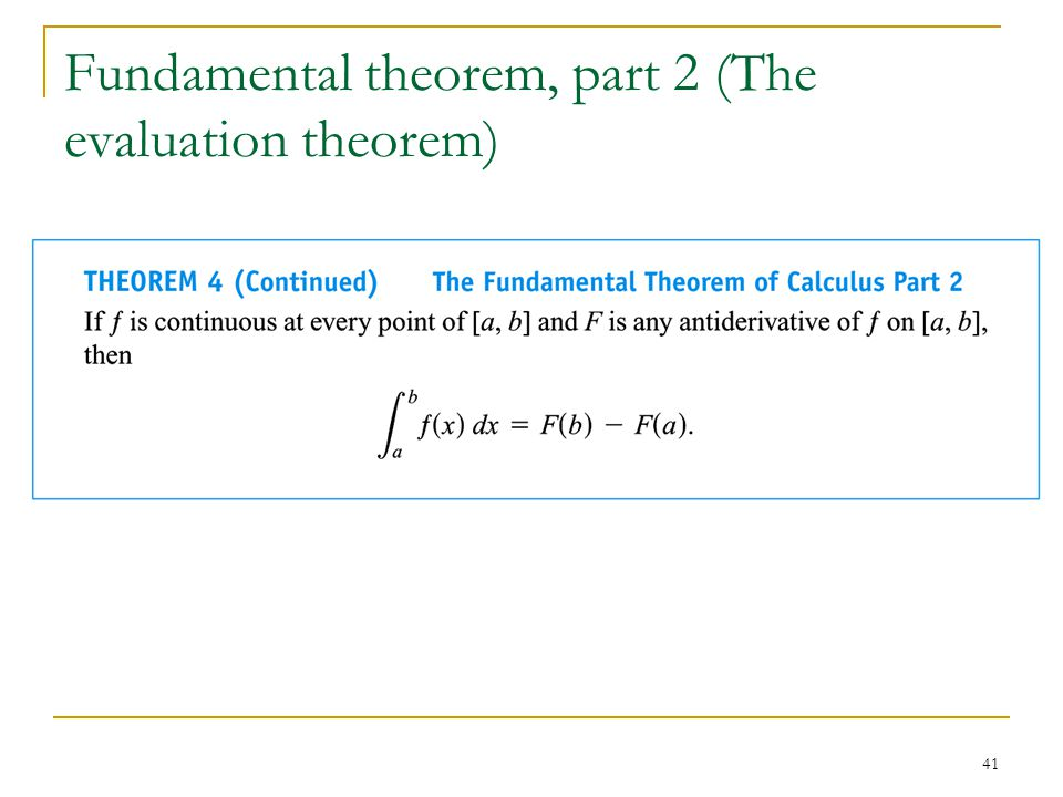 Fundamental theorem, part 2 (The evaluation theorem)