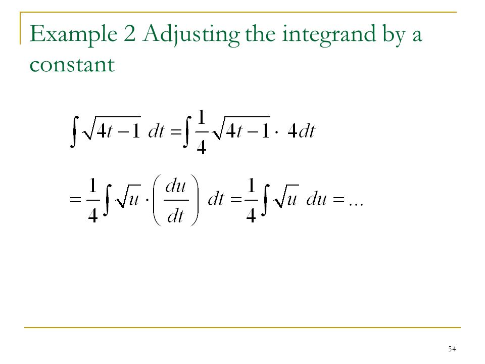 Example 2 Adjusting the integrand by a constant