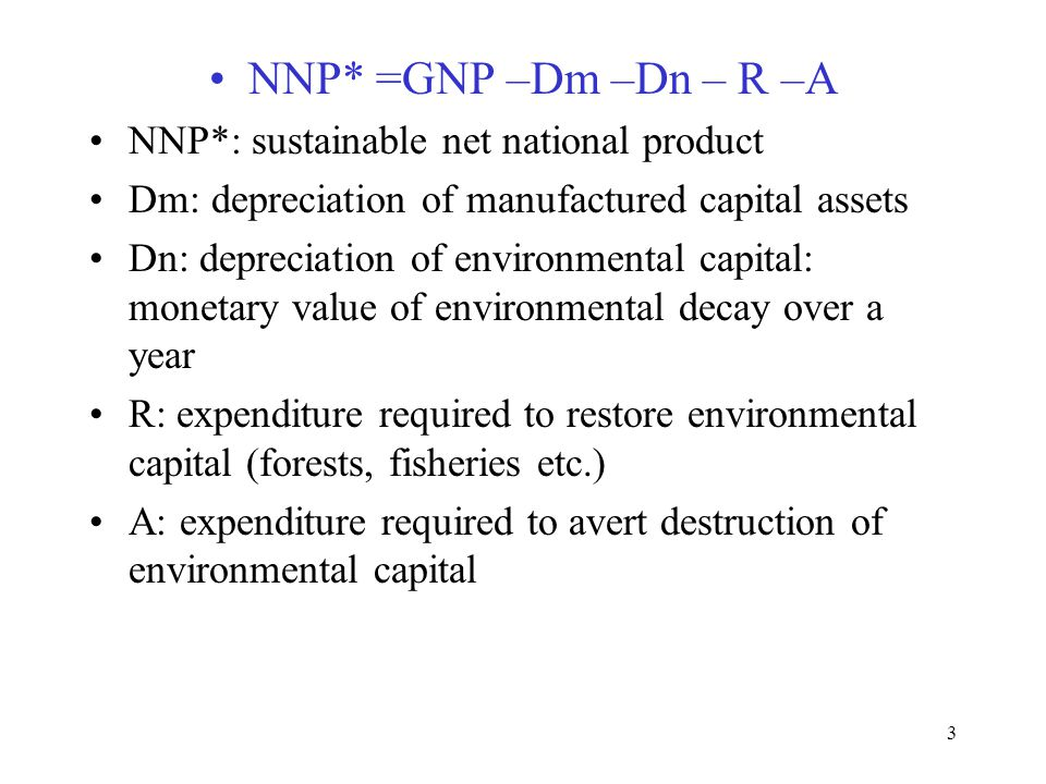 NNP* =GNP –Dm –Dn – R –A NNP*: sustainable net national product