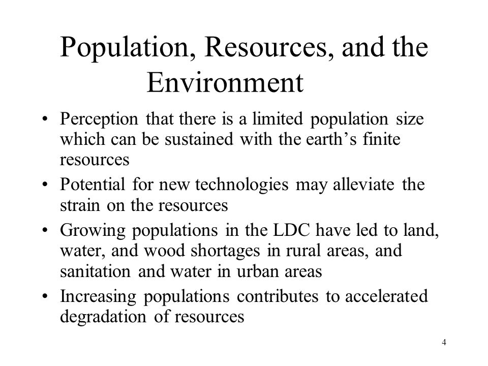 Population, Resources, and the Environment