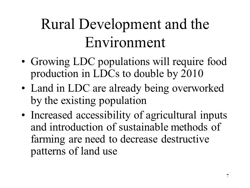 Rural Development and the Environment
