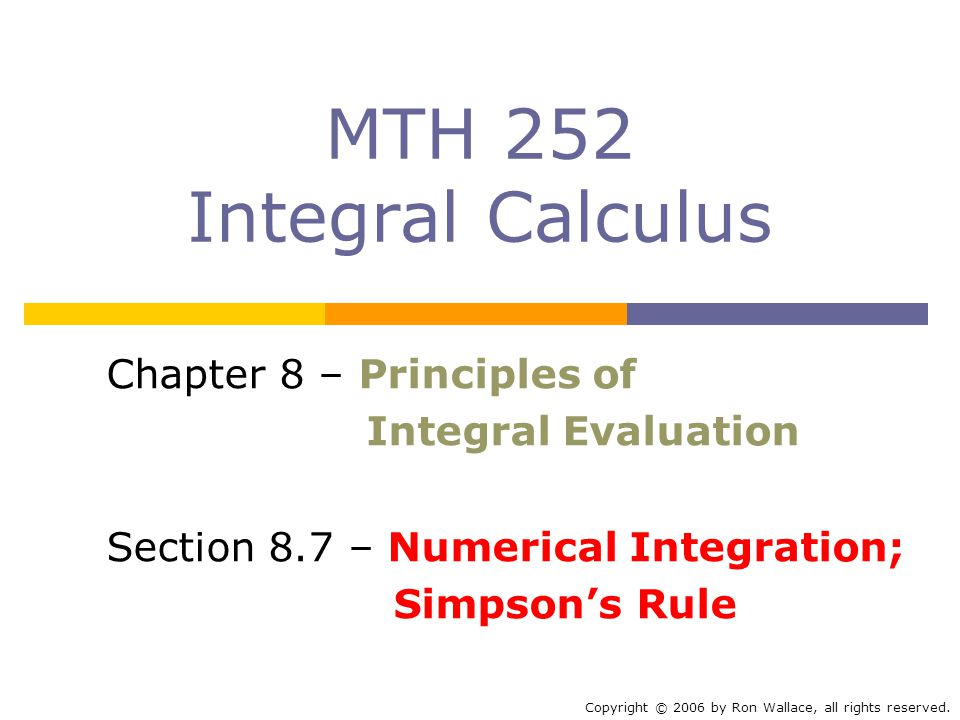 MTH 252 Integral Calculus Chapter 8 Principles Of