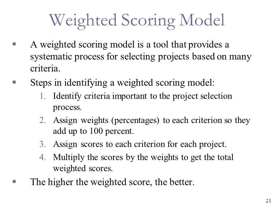 Weighted Scoring Model