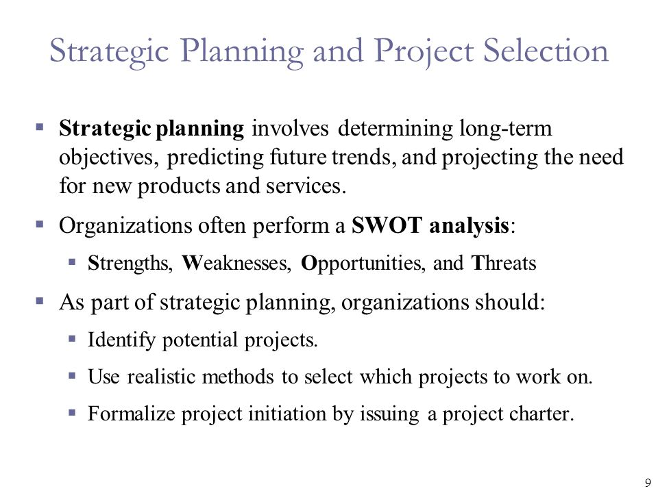 Strategic Planning and Project Selection