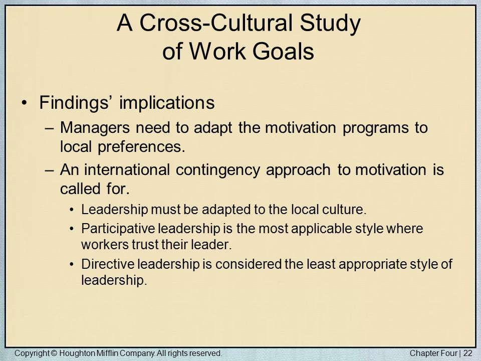 examining cross cultural motivation in employees 54 the role of ethics and national culture  that motivate employees in different cultures may not be equivalent  of distributive justice: a cross-cultural .